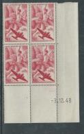 France P. A. N° 17 XX Iris En Bloc De 4 Coin Daté Du 3 . 12  . 48,  Sans Charnière, TB