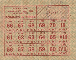 WW2 - Mars 1945 - Rationnement - Carte De POMME DE TERRE - LE POUCHET (34) - Documents Historiques