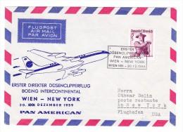 AT Luftpost 1er Direkter Düsenclipperflug Wien-New-York 30.12.1959 - Luftpost