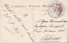 Tripolitania Postal Stationery Ganzsache Enteri Postale Militare TRIPOLI 1916 To PALERMO (2 Scans) - Tripolitania