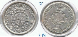 MOZANBIQUE 20 ESCUDO 1955 PLATA SILVER G1 - Mozambique