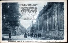 45, COURTENAY, COURTENAY , L'EGLISE VUE DE COTE ET RUE ST PIERRE - Courtenay