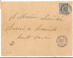 BONNE S MENOGE Haute Savoie Sur Devant Au Type SAGE. OR Non Identifié. - Marcophilie (Lettres)