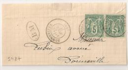 BM + Type 17 BONNEVILLE  (89) Haute Savoie Sur Devant Au Type SAGE. - Marcophilie (Lettres)