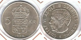 SUECIA 5 CORONAS 1955 PLATA SILVER G1 - Suecia