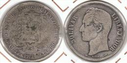 VENEZUELA 5 BOLIVAR 1912 PLATA SILVER G1 - Venezuela