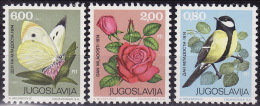 Yugoslavia 1974. Youth Day, Bird, Rose, Butterfly, MNH(**) Mi 1559/61 - Unused Stamps