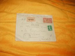 ENVELOPPE UNIQUEMENT  DE 1919. / R N°174 LOCHES POUR ORLEANS. CHARGE / CACHETS DONT CIRE AU DOS RG + TIMBRES - Postmark Collection (Covers)