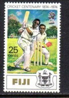 Fiji QEII 1974 Cricket 25c Value, Wmk. Sideways, MNH - Fiji (1970-...)