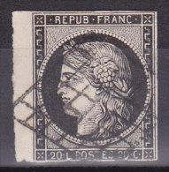 France Lot Z5, YT N° 3, 20c Noir Sur Blanc, Bord De Feuille, 3 Marges - 1849-1850 Cérès