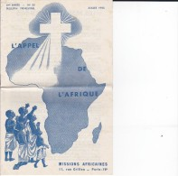 DO-63 REF 62  L APPEL DE L AFRIQUE MISSIONS AFRICAINES 1955 - Vieux Papiers