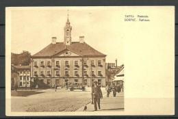 ESTLAND ESTONIA Ca 1910 Ansichtskarte Tartu Dorpat Rathaus Auto Manor House - Estonia
