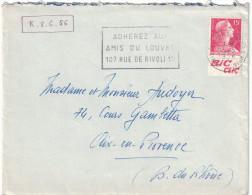 """France - 1956 Muller 15f Rouge Avec BANDE PUB """" Bic Clic """" De Paris Pour Aix En Provence - Advertising"""