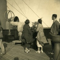 Canadian Pacific Steamship Company Empress Of Britain Passagers Ancienne Photo Amateur 1930's - Boats
