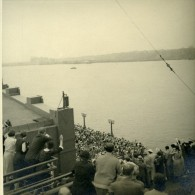 USA New York Cunard Line Croisiere RMS Queen Mary Arrivee Foule Ancienne Photo Amateur 1936 - Boats