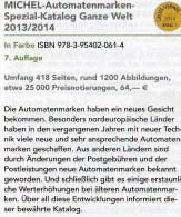 Michel Automatenmarken Katalog 2013/2014 Neu 64€ All World A AU B D DK F UK N P CH RO NO Brazil SF Eire C IS LUX E TK GR - Material Und Zubehör