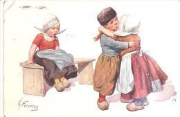 75085) Cartolina  -illustrata Da K. Feiertag-banbini Ch Si Baciano E Una Gelosa In Costume Rgionale-viaggiata - Feiertag, Karl