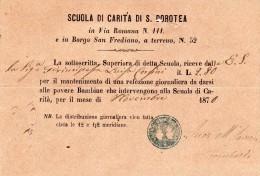 1870 SCUOLA DI CARITA DI S. DOROTEA - MANTENIMENTO DI UNA REFEZIONE GIORNALIERA DA DARSI ALLE POVERE BAMBINE - Documents Historiques