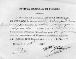 1842 RIVISTA MUSICALE DI FIRENZE - Italia