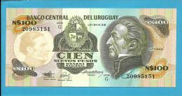URUGUAY - 100 Nuevos Pesos - ND 1987 - Pick 62A - UNC. -  Serie G - J. G. ARTIGAS - 2 Scans - Uruguay