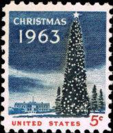 1963 USA Christmas Stamp Sc#1240 Tree White House Snow - Climate & Meteorology