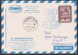 """Österreich 1961: 26. Ballonpost  OMO """"Wels-Wien"""" (siehe Foto/Scan) - Ballonpost"""