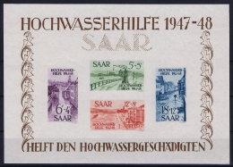 Saar Sarre Block 1 MNH/** 1948 Hochwasserhilfe Right Lower Corner Has A Light Fold - 1947-56 Protectorate