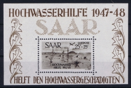 Saar Sarre Block 2 MNH/** 1948 Hochwasserhilfe - 1947-56 Protectorate