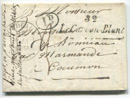 Cursive 32/Le Carbon-Blanc + Cachet T13 Bordeaux/lettre  En Port Dû De Ambarès Gironde Pour Cocumon Par Marmande - Marcophilie (Lettres)