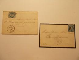 Marcophilie - Lot 2 Lettres Enveloppes Classiques Oblitérations 19 éme Siècle (21/22) - Marcophilie (Lettres)