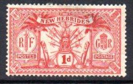 New Hebrides 1911 Condominium 1d Definitive, Wmk. Crown CA, MNH, Toned Gum - English Legend