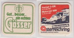 Gösser Brauerei Österreich , 1984 , Formel 3 EM Motorrad WM , Gut - Besser - Ein Echtes Gösser - Bierdeckel