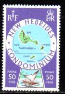 New Hebrides 1977 Island Maps Definitives 50fnh Value, MNH - English Legend
