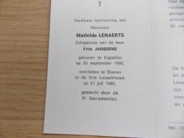 Doodsprentje Mathilde Lenaerts Kapellen 26/9/1900 Ekeren 21/7/1986 ( Frits Janssens ) - Religión & Esoterismo