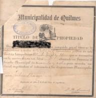 COMPRAVENTA DE VARIAS SEPULTURAS DE 1902 DEL CEMENTERIO DE QUILMES BOVEDAS A PERPETUIDAD Y LOS TITULOS ORIGINALES DE 189