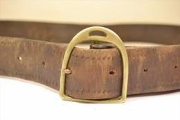 Ancienne ceinture en cuir avec boucle fer � cheval, fin 19eme Si�cle, cavalier, �quitation, d�co, country western