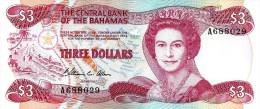 BAHAMAS ISLANDS $3 WOMAN QEII HEAD FRONT BOAT BACK LAW1974(ISSUED1984) UNC P.44 READ DESCRIPTION !! - Belize
