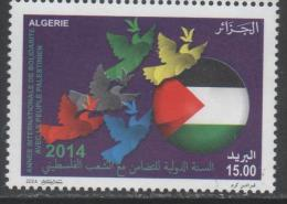 ALGERIA ,2014 ,MNH,FLAGS, SOLIDARITY WITH THE PALESTINIANS ,  1v - Stamps