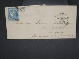 FRANCE - Lettre ( Avec Texte ) De La Roche Sur Yon Pour La Rochelle En 1871 - Aff N°46A Report I Avec Gd Marges - P7684 - Marcophilie (Lettres)