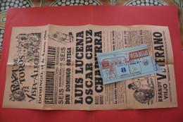 AUG 1960 Cartel Publicitario+ TICKET ENTRADAS VISTA-ALLEGER AFFICHE ESPANA ESPAGNE NOVILLADA DOMINGO ORTEGA  LUIS LUCENA - Tickets D'entrée