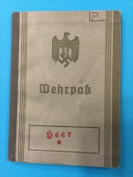 LIVRET MILITAIRE ALLEMAND WEHRPASS WW2 - Documenten