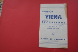 VINTAGE 1963 FOLLETOS TURISTICOS Pension Viena Excursions PALMA DE MALLORCA ESPANA ESPAGNE SPAIN  ATTRACTION TOURISTIQUE - Folletos Turísticos