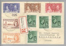 Karibik Virgin Islands 1948-01-23 Tortola R-Brief Nach Göthenburg Schweden - Iles Vièrges Britanniques