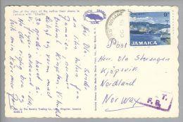 Karibik Jamaica 19??-10-15 Postkarte Mit OAT F8 Violett Nach Norwegen - Jamaique (1962-...)