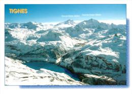 TIGNES : La Station , Le Domaine Skiable Et Au Fond La Grande Motte - Autres Communes