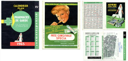 Calendrier De 1965 - Pharmacies Parisiennes Du XVème + PUB Et Plan - Calendriers