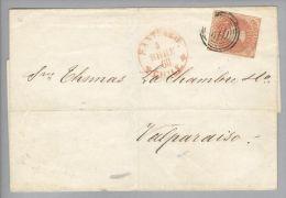 Chile 1860-09-04 Santiago Briefhülle Nach Valparaiso Mit 5 Centavos Geschnitten - Chili