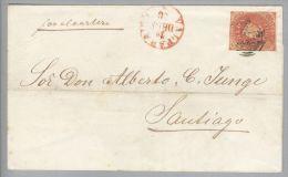 Chile 1860-12-19 Valparaiso Briefhülle Nach Santiago Mit 5 Cent Geschnitten - Chili