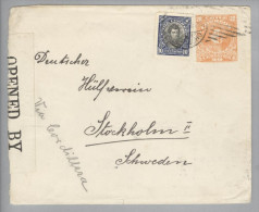 Chile 1919-?-? 20Cent Ganzsache+10Cent Zusatz Zensurbr. Nach Stockholm - Chili