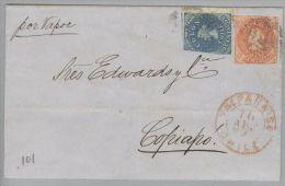Chile 1865-04-10 Valparaiso Briefhülle Nach Copiapo Mit 10+5 Centavos - Chili